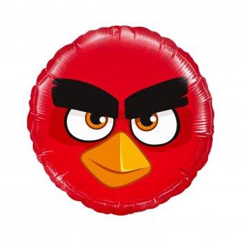 Шар фольгированный 18 круг angry birds красный