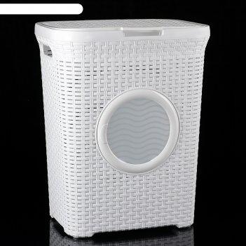 Корзина для белья с крышкой, с иллюминатором 60 л, цвет белый