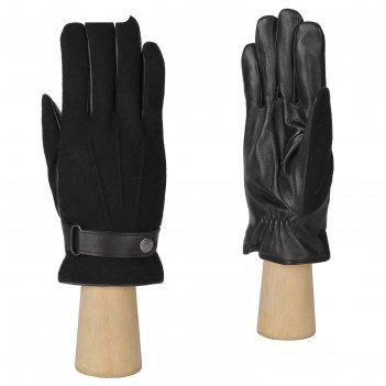 Перчатки мужские, натуральная кожа/шерсть (размер 8.5) черный