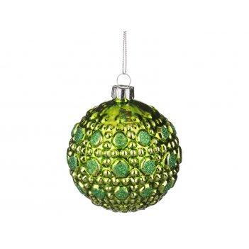 Декоративное изделие шар стеклянный диаметр=8 см. высота=9 см. цвет: салат