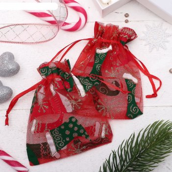 Мешочек новогодний башмачки, 10*12см, цвет красно-зеленый