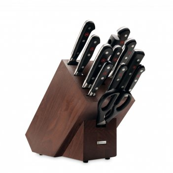 Набор кухонных ножей 9 штук + кухонные ножницы + вилка + мусат в деревянно