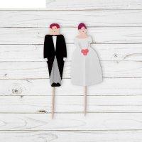 Шпажки для канапе жених невеста, ( набор 24 шт)