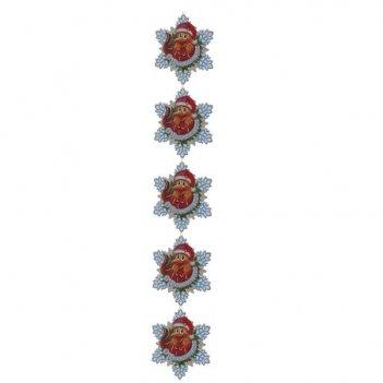 Новогодняя гирлянда петушок, l90см, h15см