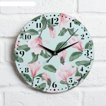 Часы дерево настенные цветы