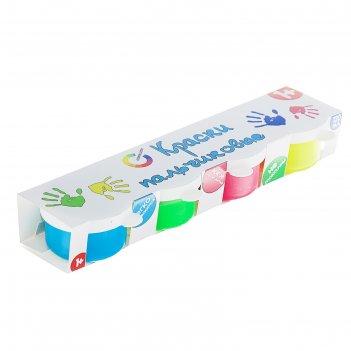 Краски пальчиковые флуоресцентные 4цв*30мл азбука цвета бабочки 02