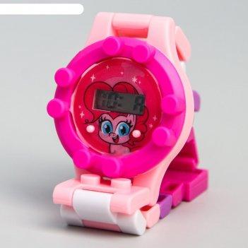 Часы наручные электронные пинки пай, my little pony, с ремешком-конструкто