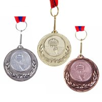 Медаль тематическая 032 волейбол диам 4 см. цвет сер