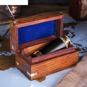 Сувенирная подзорная труба в шкатулке якорь, линза 3х