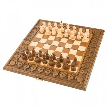 Шахматы + нарды резные с гранатами 40