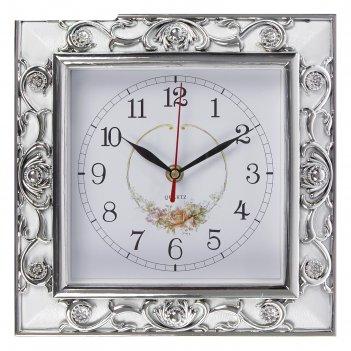 Часы настенные серия ретро, квадрат, рама белая+серебро, циферблат с рисун
