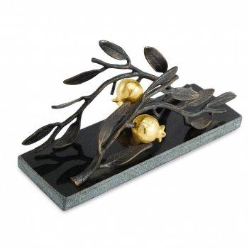 Салфетница «гранат», размер: 20,3 х 7 х 10,8 см, материал: гранит, латунь,