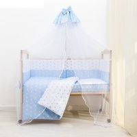 Комплект в кроватку 7 пр. день и ночь (борт из 4-х частей), цвет голубой,
