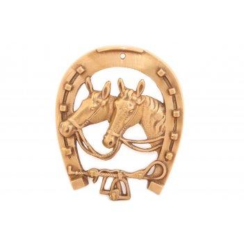 Вешалка подкова с лошадью, латунь (антик)