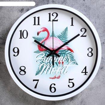 Часы настенные, серия: животный мир, фламинго, микс, d=30 см, плавный ход