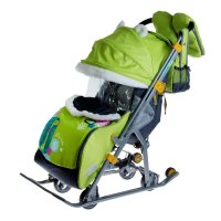 Санки-коляска ника детям 7-2. коллаж-жираф с выдвижными колёсами, цвет лим