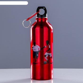 Бутылка для воды 500 мл, в форме фляжки. серия урбан, с карабином, алюмини