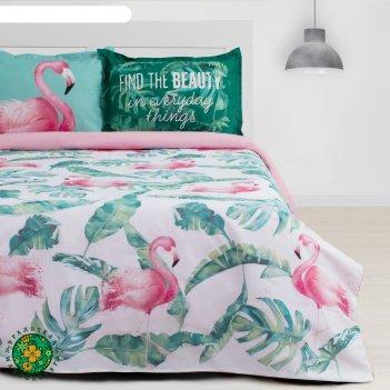 Постельное бельё этель евро фламинго 200х217 см, 220х240 см, 50х70+3 см -