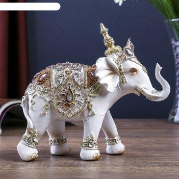 Сувенир полистоун белый слон махараджи в богатой попоне 14,5х6х16,5 см