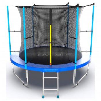 Батут с внутренней сеткой и лестницей evo jump internal, диаметр 8ft (244