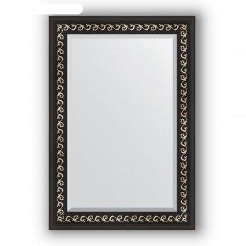 Зеркало с фацетом в багетной раме - черный ардеко 81 мм, 65 х 95 см, evofo