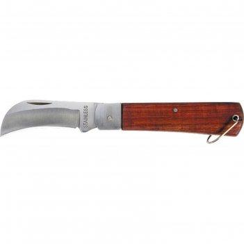 Нож складной sparta 78999, загнутое лезвие, деревянная ручка, 200 мм