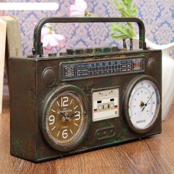 Часы настольные бумбокс, с термометром, черный, под старину, 35.5х21х9.5 с