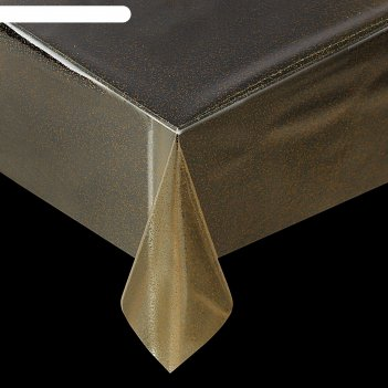 Клеенка пвх, ширина 137 см, толщина 0,16 мм, рулон 50 м, прозрачная с золо