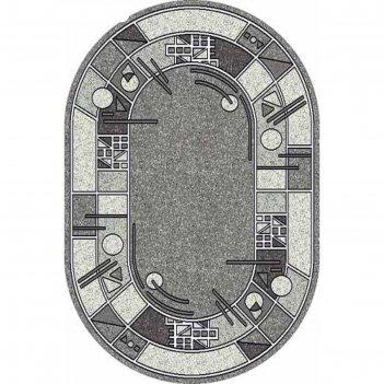 Овальный ковёр silver albina 3, 180x350 см, цвет gray