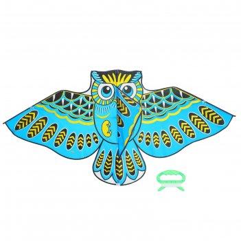 Воздушный змей сова с леской, цвета микс