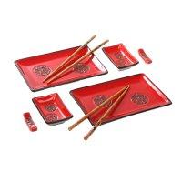 Набор для суши иероглифы на красном, 8 предметов