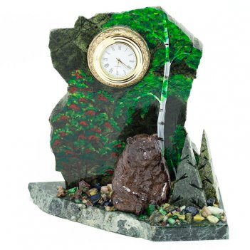 Часы мишка в лесу сидящий змеевик