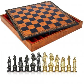 Шахматы 35х35 микельанджело (6-8см) italfama (дерево, кожа, бронза, олово)