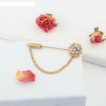 Булавка цветочек, цвет золото