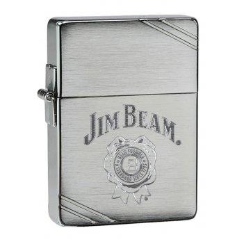 Зажигалка zippo jim beam® с покрытием brushed chrome, латунь/сталь, серебр