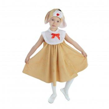 Карнавальный костюм для девочки собака сарафан плюш,  унты, шапка, размер