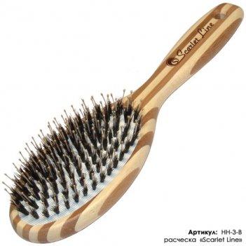 Расческа bb3-b массажная нат. щетина бамбук (12/192)