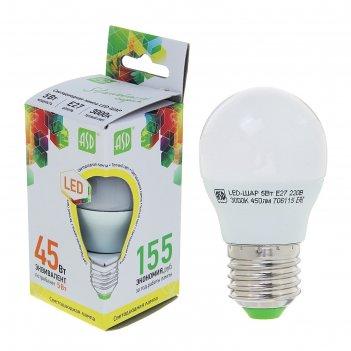 Лампа светодиодная asd, е27, 5 вт, 160-260 в, 3000 к, 450 лм, шар