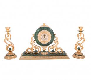 Каминный набор атриум (часы, 2 подсвечника, нефрит)