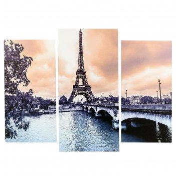 Модульная картина париж в сепии (2-25х50, 30х60 см)  60х80 см