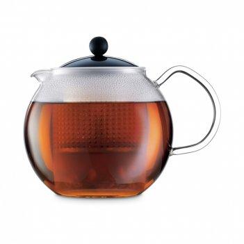 Чайник заварочный с прессом, объем: 1 л, материал: боросиликатное стекло,