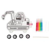 Раскраска - надувная фигурка экскаватор + 5 фломастеров, 4 колеса