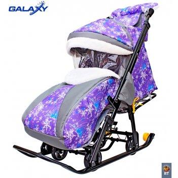 Санки-коляска snow galaxy luxe елки на фиолетовом на больших мягких колеса