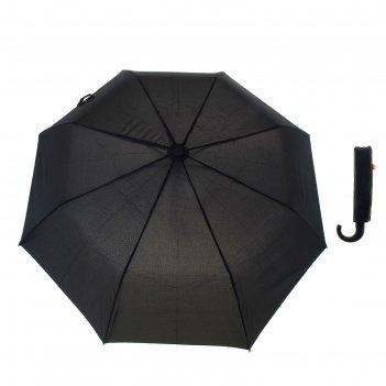 Зонт мужской полуавтомат, 3 сложения, 8 спиц, купол 55 см, ручка крюк, чер