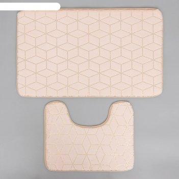 Набор ковриков для ванны и туалета доляна «геометрик», 2 шт: 40x50, 50x80
