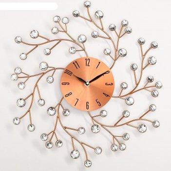 Часы настенные, серия: ажур, цветы сакуры, медные, d=40 см