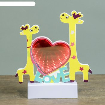 Ночник бесконечность жирафики ledх15 от 3ааа микс 19,5х17х4,5 см