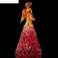 Колокольчик сувенирный «хрустальный ангел», ручной работы, красно-золотой