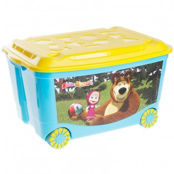 Ящик для игрушек на колесах маша и медведь, цвет голубой