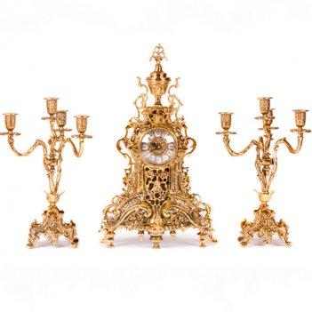 Часы каминные ажур с канделябрами на 4 свечи, набор из 3 предм.